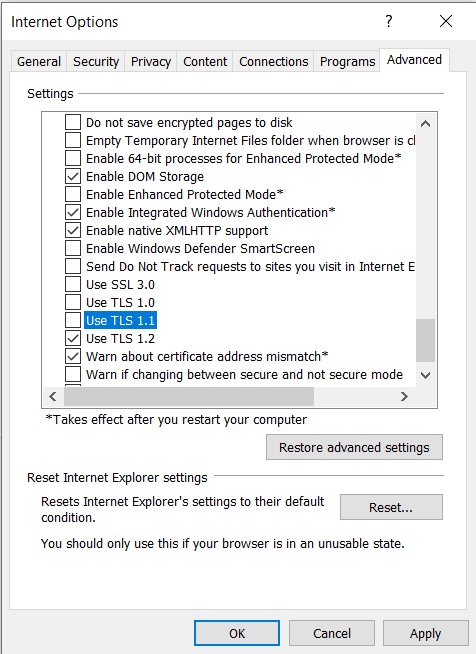 Enabling Tls 1 2 On Web Browsers